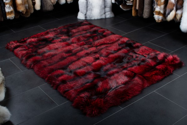 Real Fur Carpet made of Silver Foxes in Ferrari-red