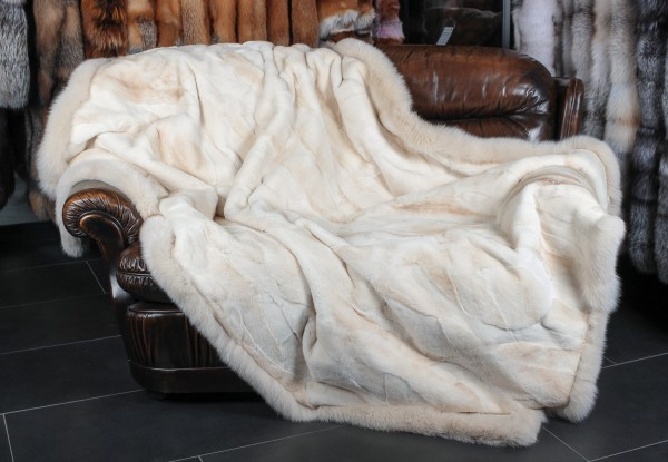 Mink Fur Blanket with Fox Frame beige