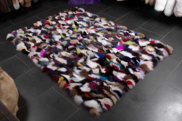Multicolor Fox Fur Rug - Genuine Fox Pieces