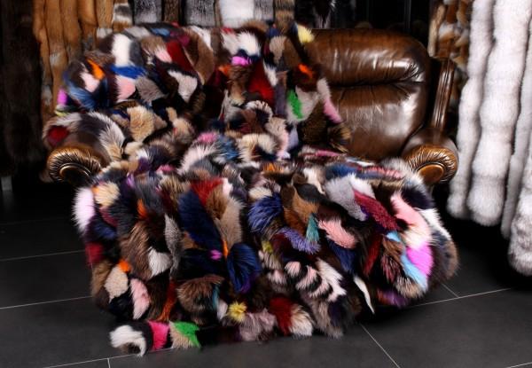 Blue Fox Fur Blanket in multicolor (Fox from Scandinavia)