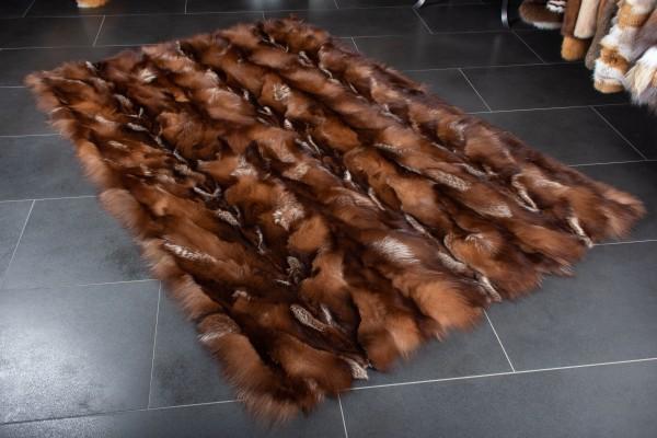 Brown Fox Fur Carpet made of Real Fur