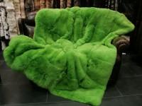 Rabbit fur throw dyed green