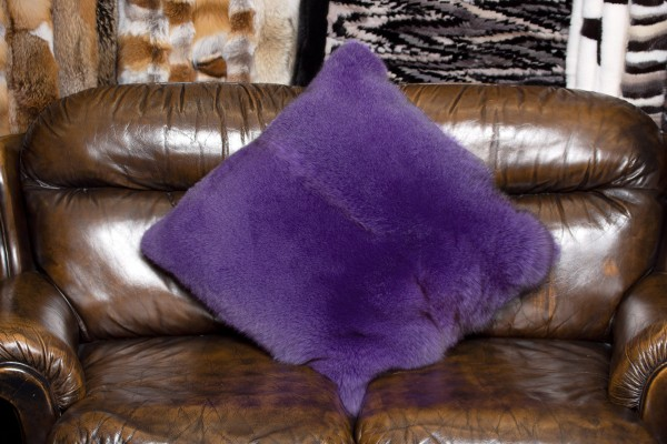Fur Pillow from Purple Blue Fox Skins