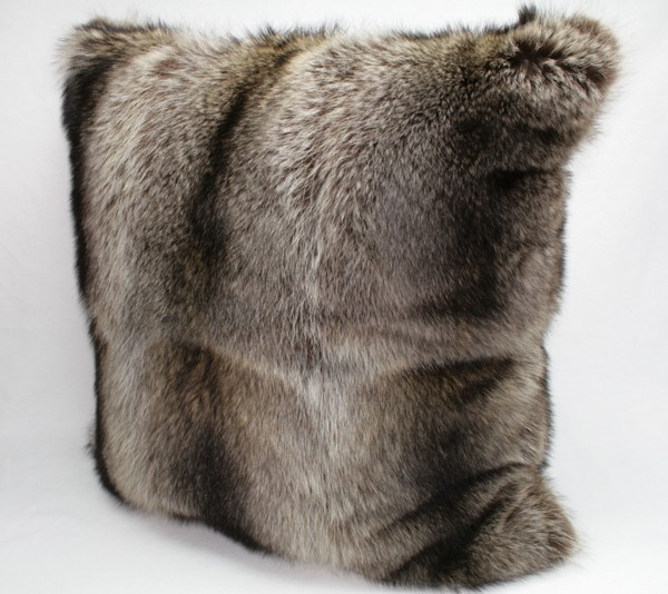 Fur pillow made from raccoon furs, fur on both sides