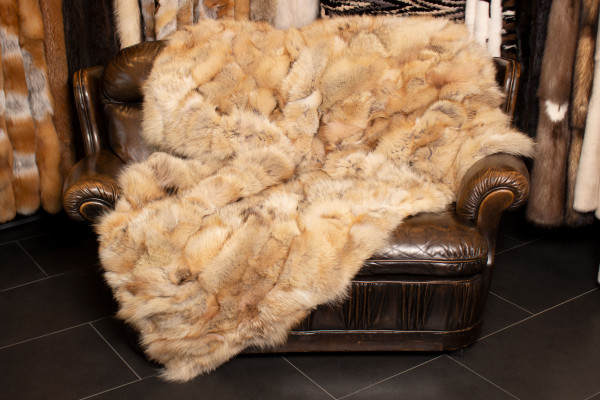 Real Fur Blanket made with Canadian Racoon Pieces