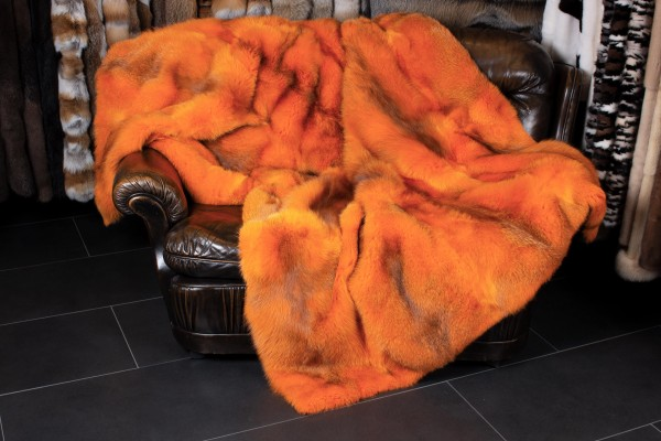 Real Fur Throw from European Red Foxes in Orange