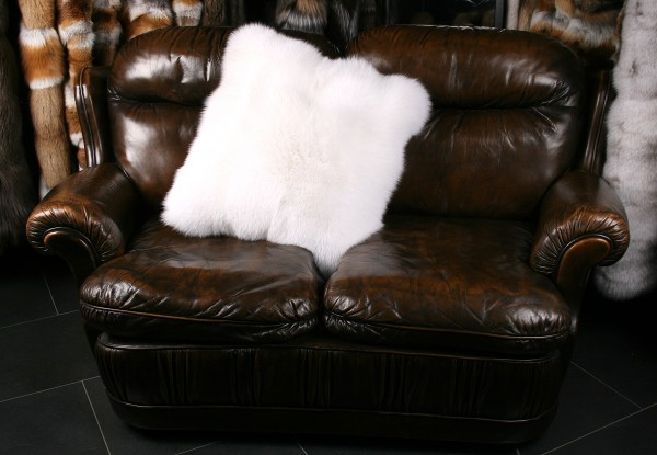 White Shadow Fox Fur Pillow (SAGA Fur)