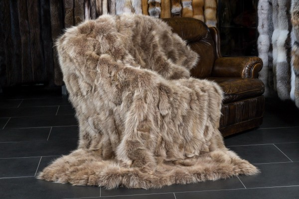 Canadian Coyote Real Fur Throw brown beige
