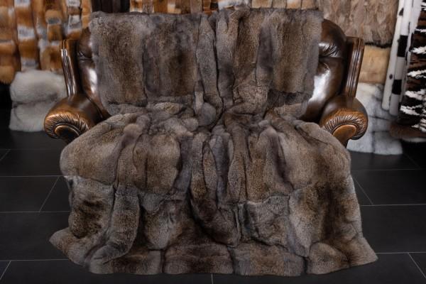 Dark Rabbit Fur Throw in Brown-Graphite