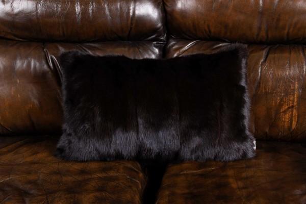 Russian Sable Fur Pillow Gray Smoke Real Fur