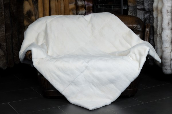 White Mink Fur Blanket with fur on both sides