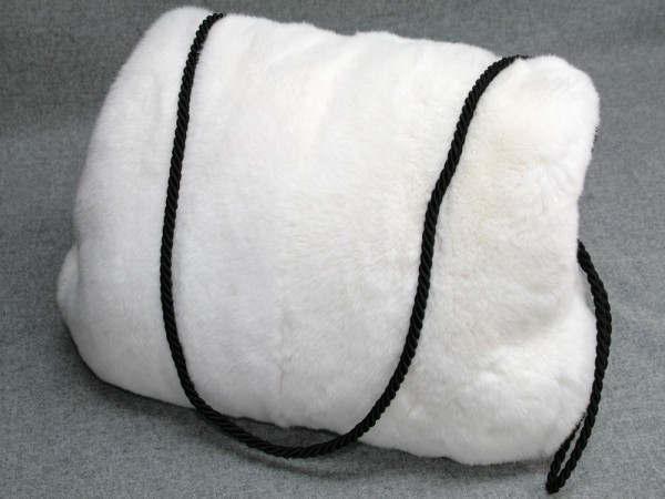 Rex rabbit fur muff in white