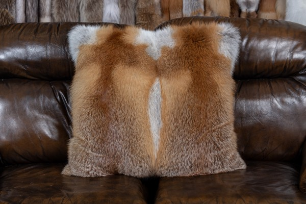 Red Fox Fur Pillow - two skins