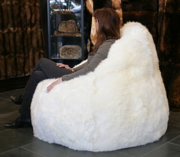 Lamb fur bean bag