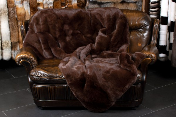 Noble Fur Blanket from Rabbit Skins in Chocobrown