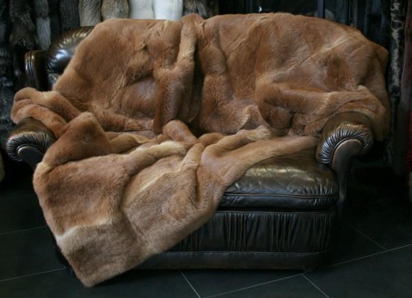 Brown fur throw made of rabbit skins