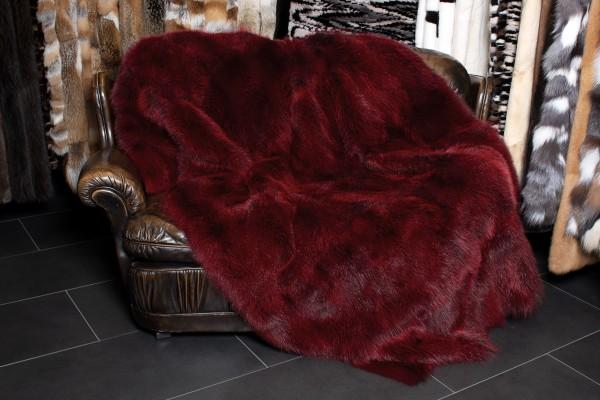 Genuine Possum Fur Blanket in Red