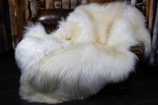 Manta de piel de oveja blanca