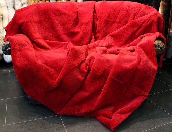 Sheared Rabbit fur blanket in red