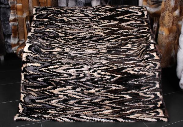 Mink Sides Fur Blanket with extravagant pattern