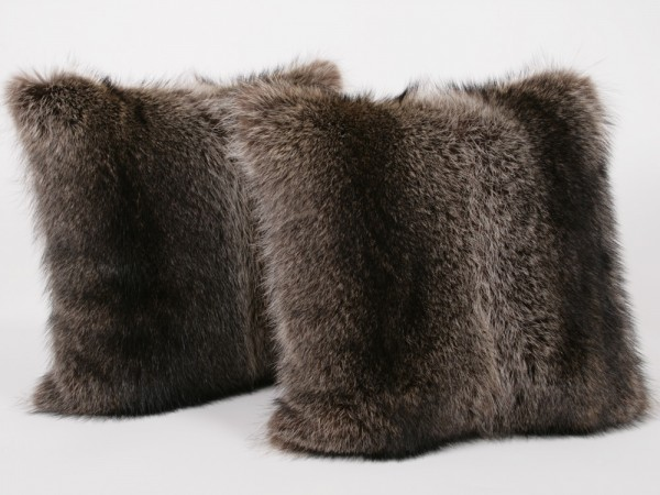 Raccoon fur pillow