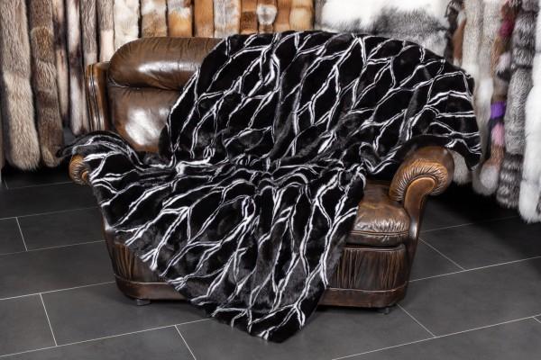 Mink Fur Throw in black & white