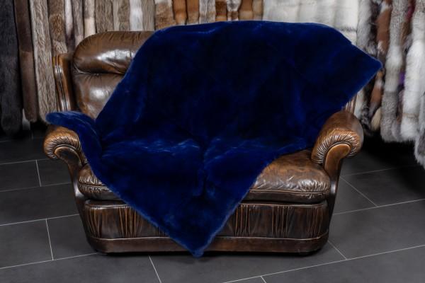 Real Fur Throw Rex Rabbit in Midnight Blue