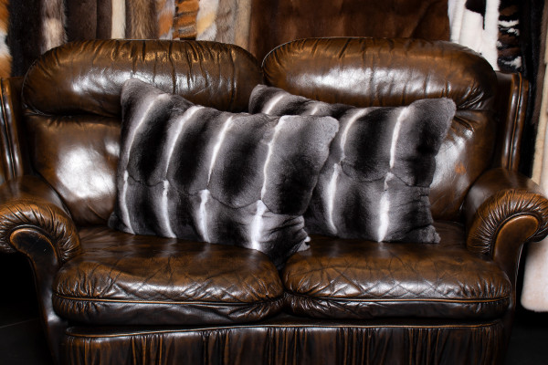 Genuine Chinchilla Fur Cushion with Plucked Mink Backing