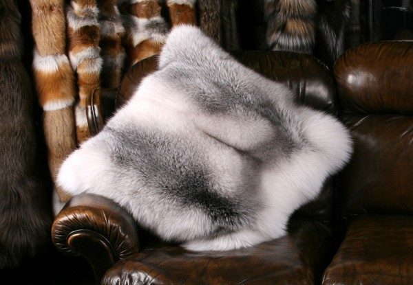 Blue Shadow Frost Fox Fur Pillow (SAGA Fox)