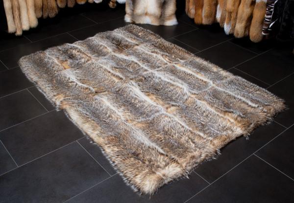 Silver Badger Fur Carpet made with Genuine Wild Fur