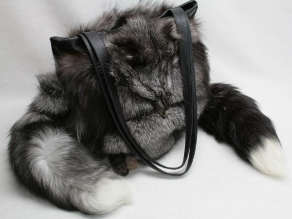 Large handbag made of SAGA blue frost fox fur