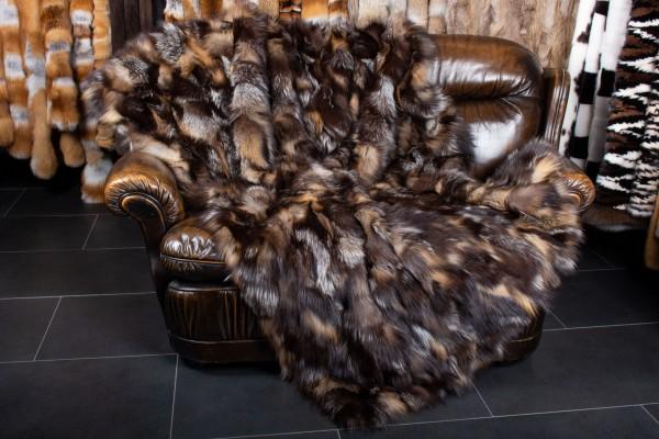 Golden Cross Fox Pieces Fur Blanket - Real Fur