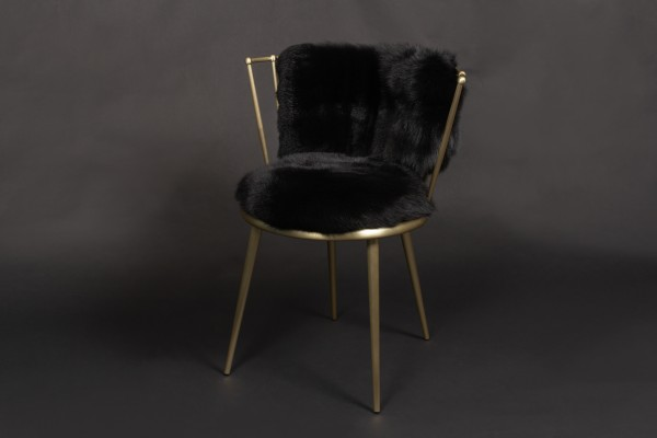 Scandinavian Shadow Fox Chair in black-gold
