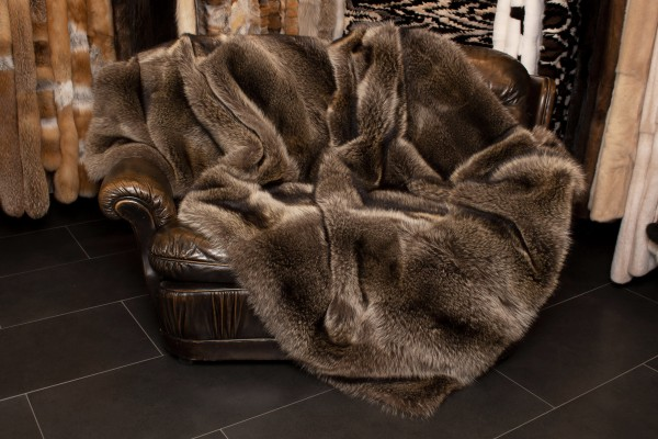 """Premium"" Raccoon Fur Blanket with Cashmere"