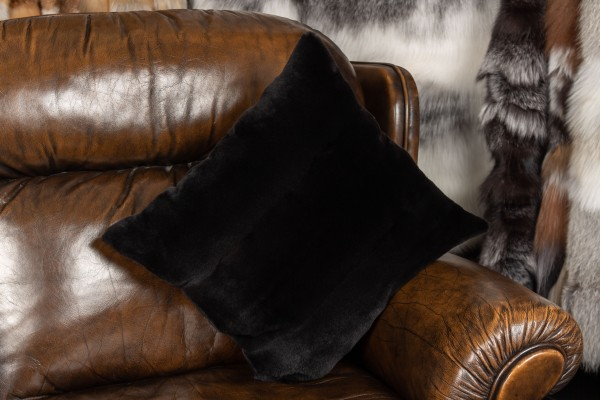 Real Fur Cushion from Minks in Black