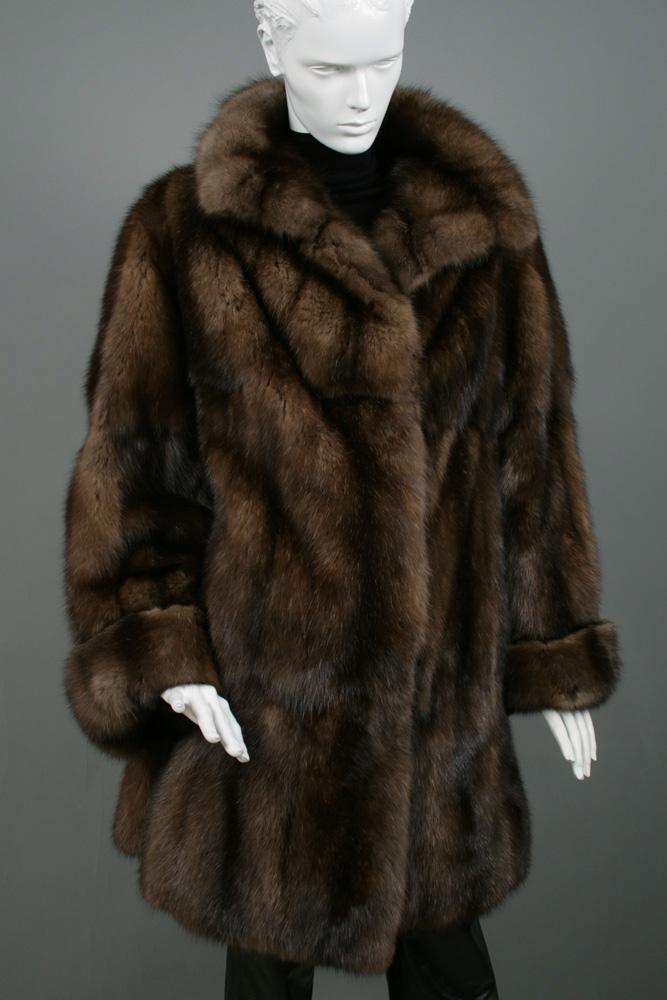 Bargusin Sable Fur Coat Dark Brown Master Furrier