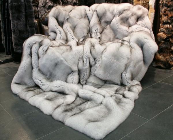 SAGA Blue Fox Fur Blanket - Natural