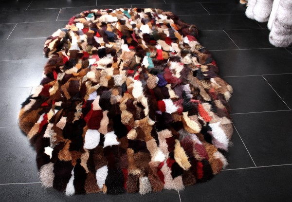 Fur Rug made with Fox Pieces in Multicolor