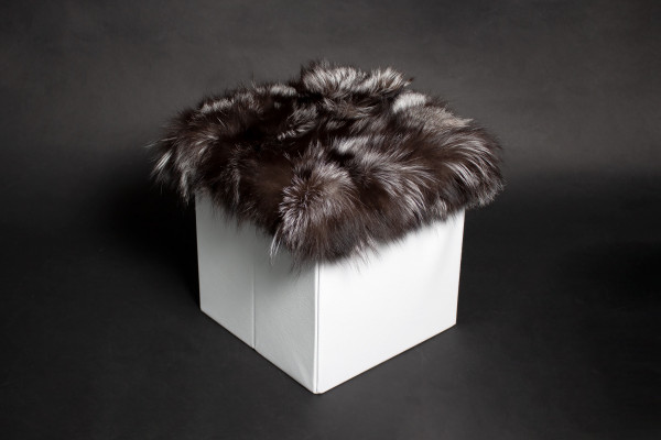 Foot Stool made with Genuine Silver Fox Fur