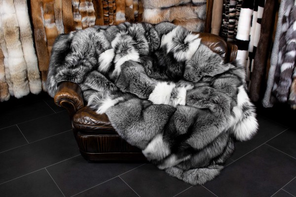 Platinum Frost Fox Fur Blanket