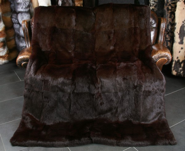 Rabbit Fur Throw in brown/ bordeaux
