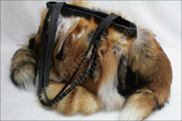 Large handbag made of Canadian red fox fur