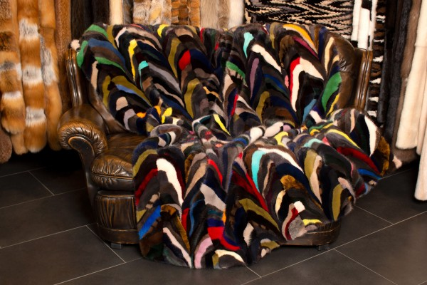Special Patchwork Fur Throw from Real Mink Sides