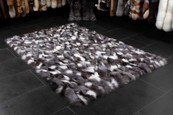 Real Fox Fur Carpet - Black & White