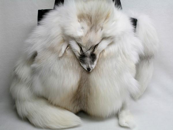 Large handbag made of SAGA fawn light fox fur