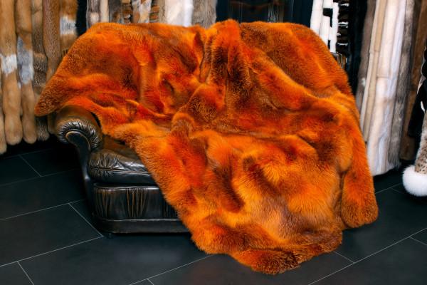 Canadian Red Fox Fur Blanket Orange - Dark Type