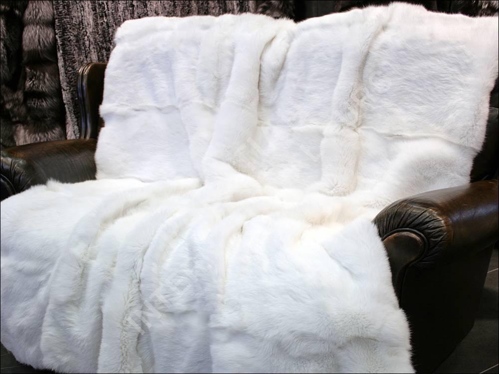 329 Rabbit Fur Blanket White German Real Fur Rug